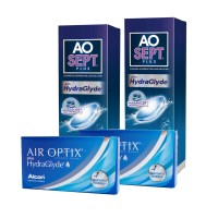 Air Optix Hydraglyde (Cx 6) x2 + Aosept 360ml x2